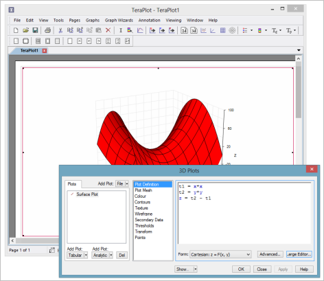 3D graph with surface plot of saddle point function