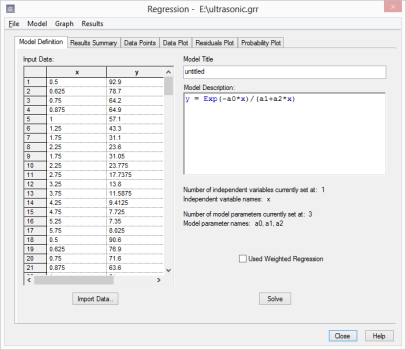 Nonlinear regression dialog